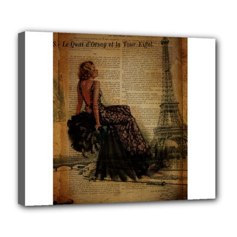Elegant Evening Gown Lady Vintage Newspaper Print Pin Up Girl Paris Eiffel Tower Deluxe Canvas 24  X 20  (framed) by chicelegantboutique