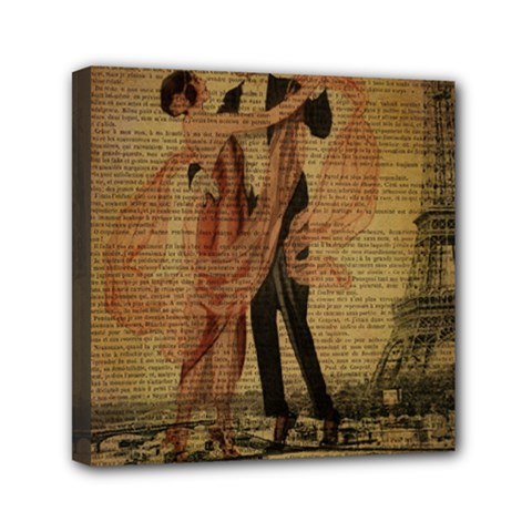 Vintage Paris Eiffel Tower Elegant Dancing Waltz Dance Couple  Mini Canvas 6  x 6  (Framed) by chicelegantboutique