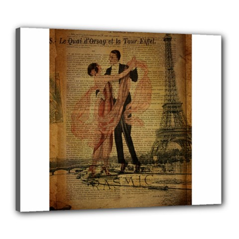 Vintage Paris Eiffel Tower Elegant Dancing Waltz Dance Couple  Canvas 24  X 20  (framed) by chicelegantboutique
