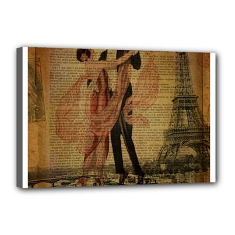 Vintage Paris Eiffel Tower Elegant Dancing Waltz Dance Couple  Canvas 18  x 12  (Framed) by chicelegantboutique