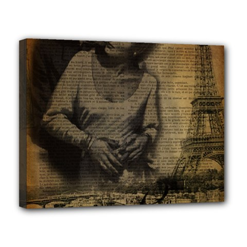 Romantic Kissing Couple Love Vintage Paris Eiffel Tower Canvas 14  x 11  (Framed) by chicelegantboutique
