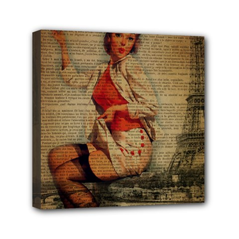 Vintage Newspaper Print Pin Up Girl Paris Eiffel Tower Funny Vintage Retro Nurse  Mini Canvas 6  X 6  (framed) by chicelegantboutique