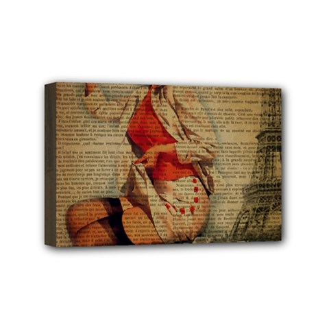Vintage Newspaper Print Pin Up Girl Paris Eiffel Tower Funny Vintage Retro Nurse  Mini Canvas 6  X 4  (framed) by chicelegantboutique