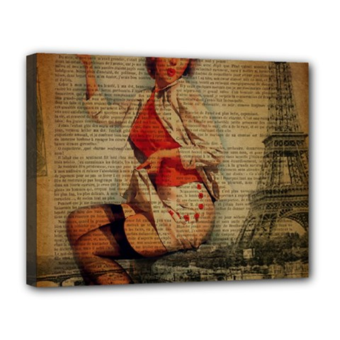 Vintage Newspaper Print Pin Up Girl Paris Eiffel Tower Funny Vintage Retro Nurse  Canvas 14  X 11  (framed) by chicelegantboutique