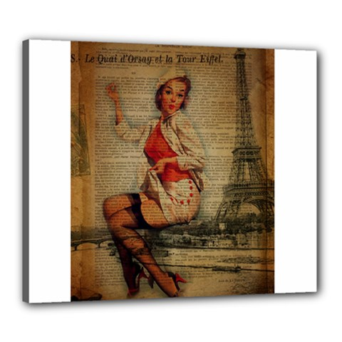 Vintage Newspaper Print Pin Up Girl Paris Eiffel Tower Funny Vintage Retro Nurse  Canvas 24  X 20  (framed)