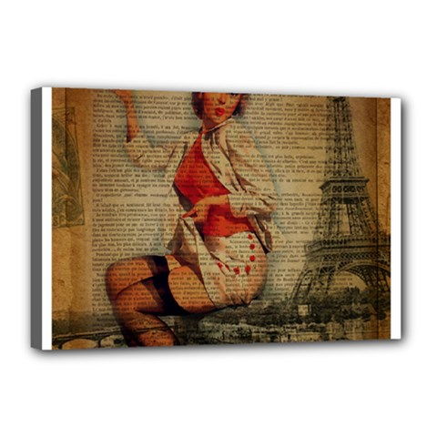 Vintage Newspaper Print Pin Up Girl Paris Eiffel Tower Funny Vintage Retro Nurse  Canvas 18  x 12  (Framed) by chicelegantboutique