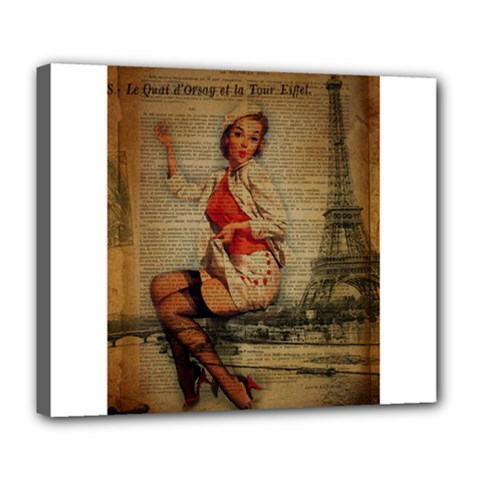 Vintage Newspaper Print Pin Up Girl Paris Eiffel Tower Funny Vintage Retro Nurse  Deluxe Canvas 24  X 20  (framed) by chicelegantboutique