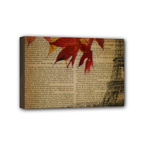 Elegant Fall Autumn Leaves Vintage Paris Eiffel Tower Landscape Mini Canvas 6  X 4  (framed) by chicelegantboutique