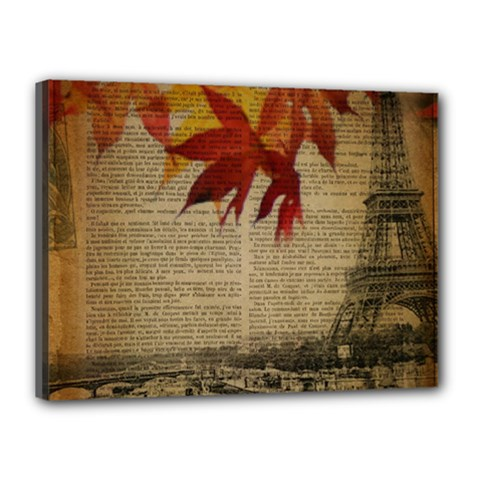 Elegant Fall Autumn Leaves Vintage Paris Eiffel Tower Landscape Canvas 16  X 12  (framed) by chicelegantboutique