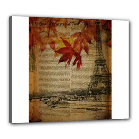 Elegant Fall Autumn Leaves Vintage Paris Eiffel Tower Landscape Canvas 24  X 20  (framed)