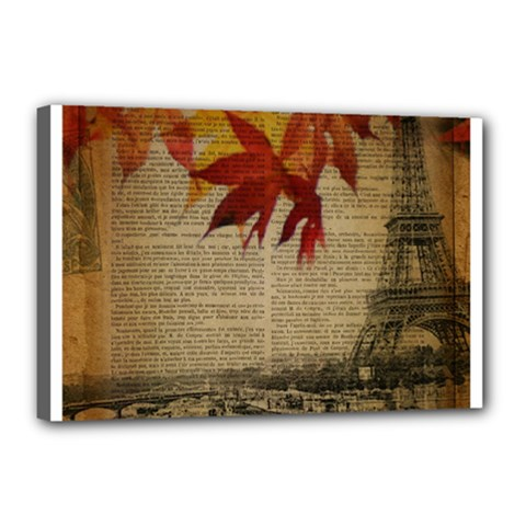 Elegant Fall Autumn Leaves Vintage Paris Eiffel Tower Landscape Canvas 18  X 12  (framed) by chicelegantboutique