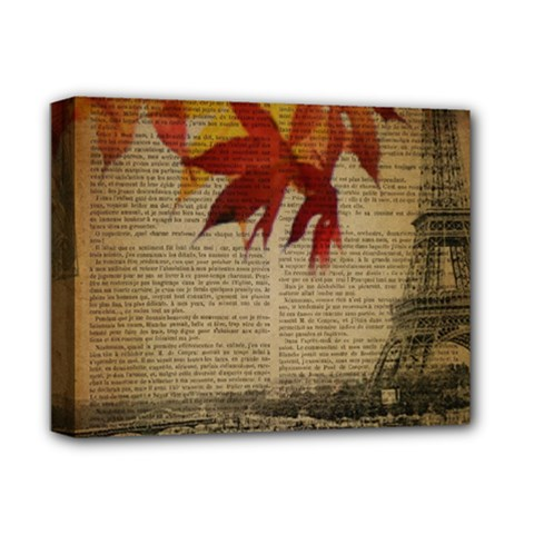 Elegant Fall Autumn Leaves Vintage Paris Eiffel Tower Landscape Deluxe Canvas 14  X 11  (framed) by chicelegantboutique