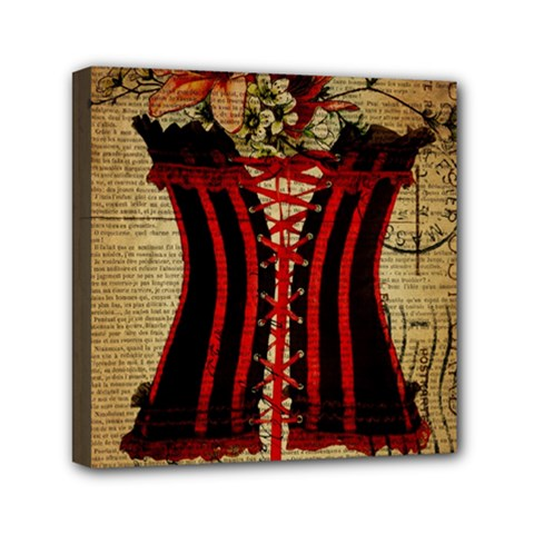 Black Red Corset Vintage Lily Floral Shabby Chic French Art Mini Canvas 6  X 6  (framed) by chicelegantboutique