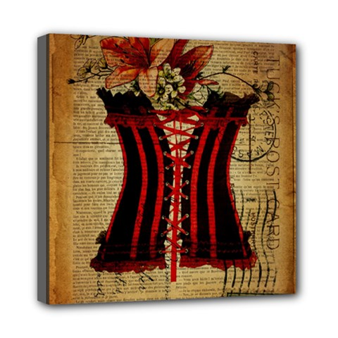 Black Red Corset Vintage Lily Floral Shabby Chic French Art Mini Canvas 8  X 8  (framed) by chicelegantboutique