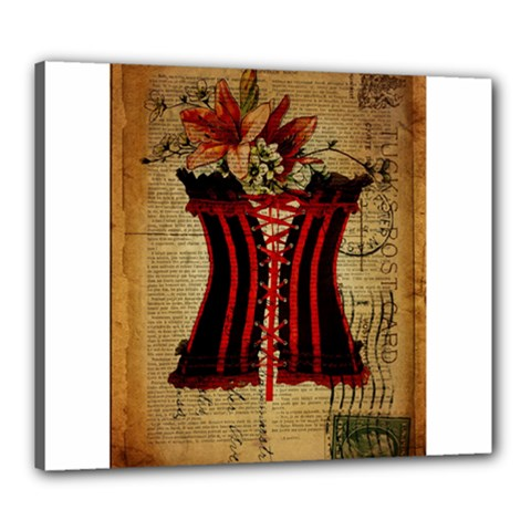 Black Red Corset Vintage Lily Floral Shabby Chic French Art Canvas 24  X 20  (framed) by chicelegantboutique