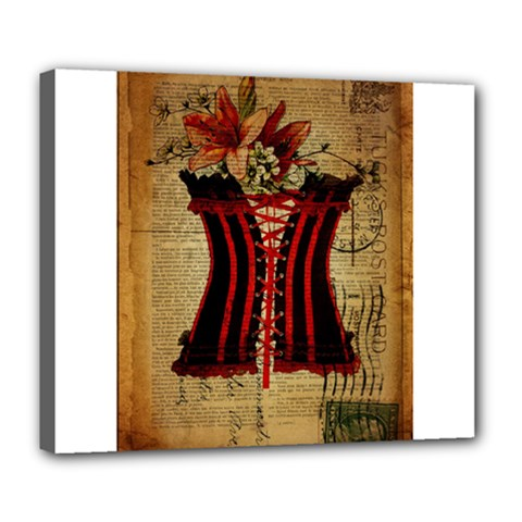 Black Red Corset Vintage Lily Floral Shabby Chic French Art Deluxe Canvas 24  X 20  (framed) by chicelegantboutique