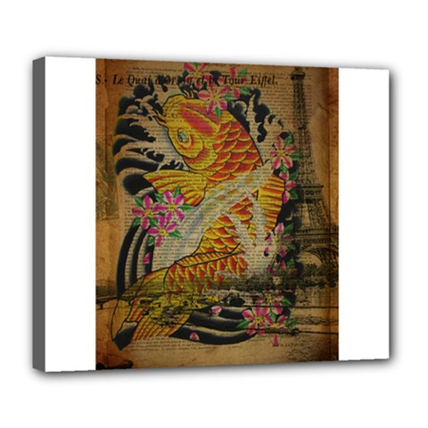 Funky Japanese Tattoo Koi Fish Graphic Art Deluxe Canvas 24  X 20  (framed) by chicelegantboutique