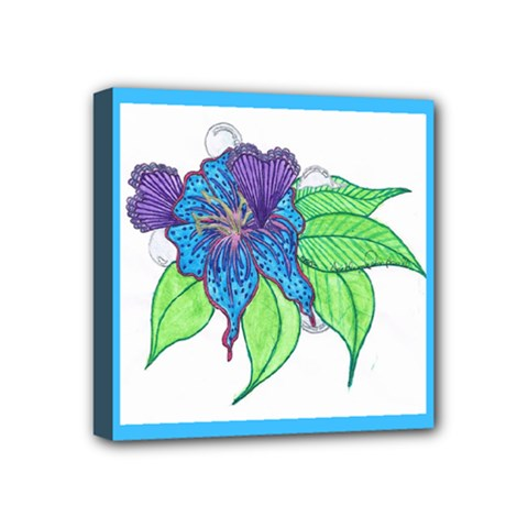 Flower Design Mini Canvas 4  X 4  (framed) by JacklyneMae