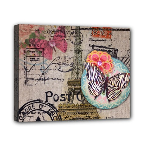 Floral Scripts Butterfly Eiffel Tower Vintage Paris Fashion Canvas 10  X 8  (framed) by chicelegantboutique