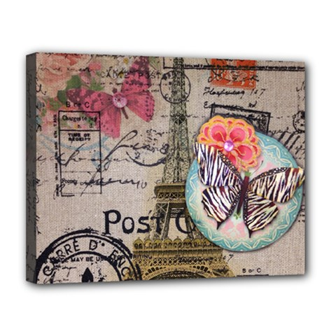 Floral Scripts Butterfly Eiffel Tower Vintage Paris Fashion Canvas 14  X 11  (framed) by chicelegantboutique