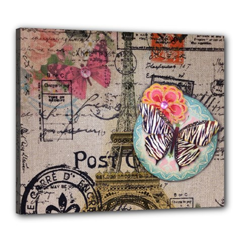 Floral Scripts Butterfly Eiffel Tower Vintage Paris Fashion Canvas 24  X 20  (framed) by chicelegantboutique