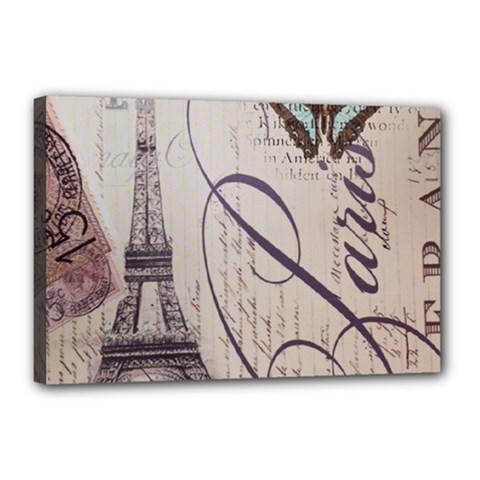 Vintage Scripts Floral Scripts Butterfly Eiffel Tower Vintage Paris Fashion Canvas 18  X 12  (framed) by chicelegantboutique