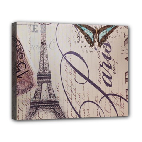 Vintage Scripts Floral Scripts Butterfly Eiffel Tower Vintage Paris Fashion Deluxe Canvas 20  X 16  (framed) by chicelegantboutique