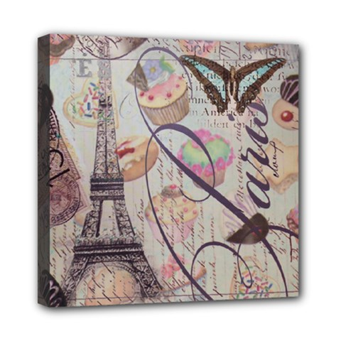 French Pastry Vintage Scripts Floral Scripts Butterfly Eiffel Tower Vintage Paris Fashion Mini Canvas 8  X 8  (framed) by chicelegantboutique