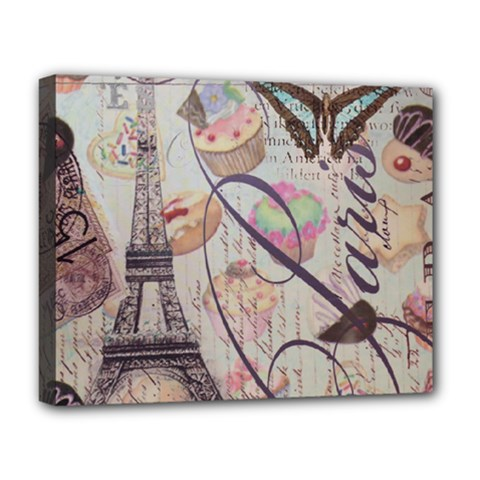 French Pastry Vintage Scripts Floral Scripts Butterfly Eiffel Tower Vintage Paris Fashion Deluxe Canvas 20  X 16  (framed) by chicelegantboutique
