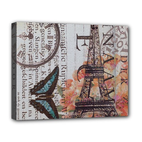 Vintage Clock Blue Butterfly Paris Eiffel Tower Fashion Deluxe Canvas 20  X 16  (framed) by chicelegantboutique
