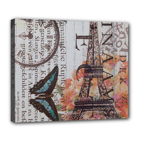 Vintage Clock Blue Butterfly Paris Eiffel Tower Fashion Deluxe Canvas 24  X 20  (framed) by chicelegantboutique