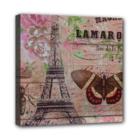 Girly Bee Crown  Butterfly Paris Eiffel Tower Fashion Mini Canvas 8  X 8  (framed)