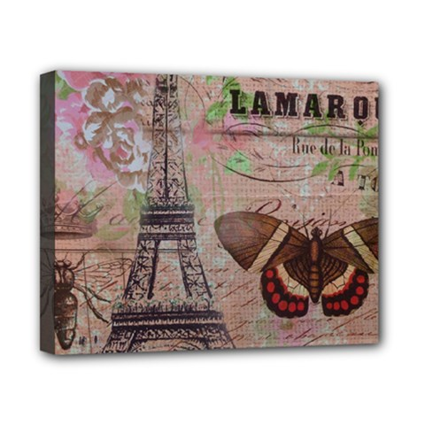 Girly Bee Crown  Butterfly Paris Eiffel Tower Fashion Canvas 10  X 8  (framed) by chicelegantboutique