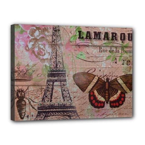 Girly Bee Crown  Butterfly Paris Eiffel Tower Fashion Canvas 16  X 12  (framed) by chicelegantboutique