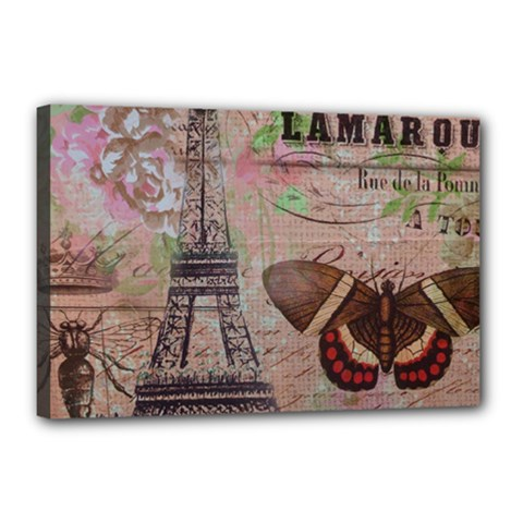 Girly Bee Crown  Butterfly Paris Eiffel Tower Fashion Canvas 18  X 12  (framed) by chicelegantboutique