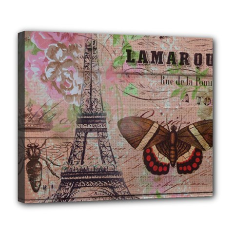 Girly Bee Crown  Butterfly Paris Eiffel Tower Fashion Deluxe Canvas 24  X 20  (framed) by chicelegantboutique