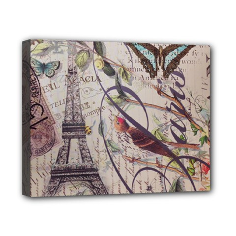 Paris Eiffel Tower Vintage Bird Butterfly French Botanical Art Canvas 10  X 8  (framed) by chicelegantboutique