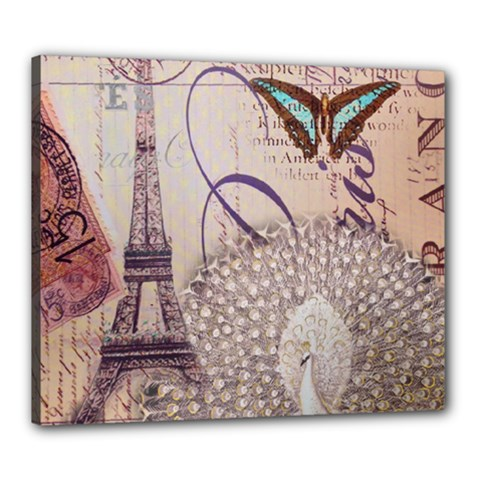 White Peacock Paris Eiffel Tower Vintage Bird Butterfly French Botanical Art Canvas 24  X 20  (framed)