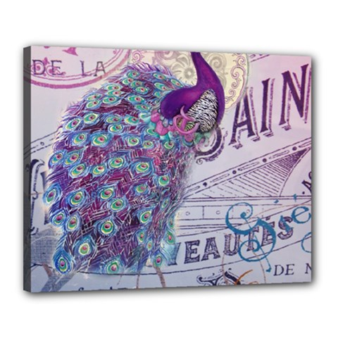 French Scripts  Purple Peacock Floral Paris Decor Canvas 20  X 16  (framed) by chicelegantboutique
