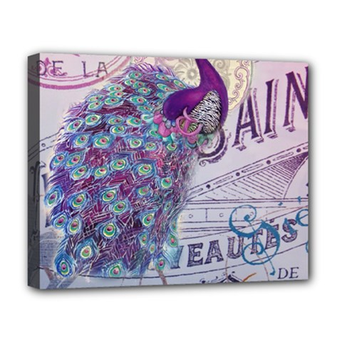 French Scripts  Purple Peacock Floral Paris Decor Deluxe Canvas 20  X 16  (framed) by chicelegantboutique