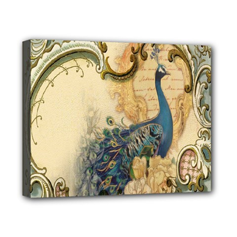 Victorian Swirls Peacock Floral Paris Decor Canvas 10  X 8  (framed) by chicelegantboutique