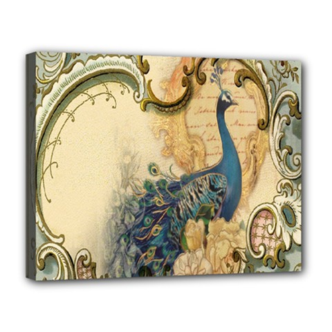 Victorian Swirls Peacock Floral Paris Decor Canvas 14  X 11  (framed) by chicelegantboutique