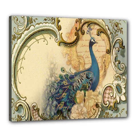 Victorian Swirls Peacock Floral Paris Decor Canvas 24  X 20  (framed) by chicelegantboutique