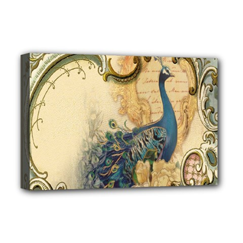 Victorian Swirls Peacock Floral Paris Decor Deluxe Canvas 18  X 12  (framed) by chicelegantboutique