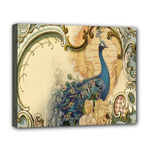 Victorian Swirls Peacock Floral Paris Decor Deluxe Canvas 20  X 16  (framed) by chicelegantboutique
