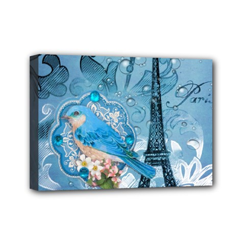 Girly Blue Bird Vintage Damask Floral Paris Eiffel Tower Mini Canvas 7  X 5  (framed) by chicelegantboutique