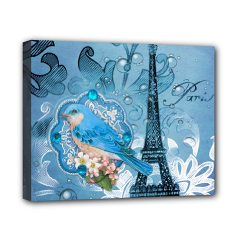 Girly Blue Bird Vintage Damask Floral Paris Eiffel Tower Canvas 10  X 8  (framed) by chicelegantboutique