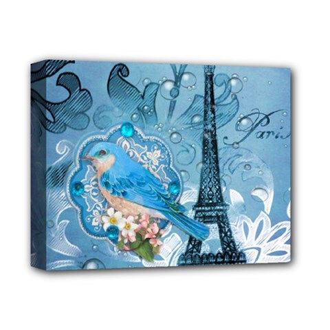 Girly Blue Bird Vintage Damask Floral Paris Eiffel Tower Deluxe Canvas 14  X 11  (framed) by chicelegantboutique