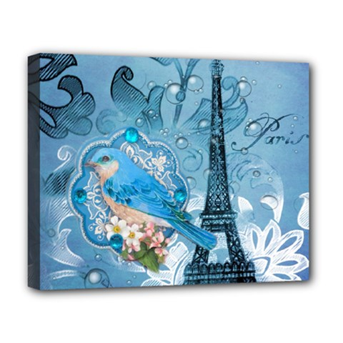 Girly Blue Bird Vintage Damask Floral Paris Eiffel Tower Deluxe Canvas 20  X 16  (framed) by chicelegantboutique