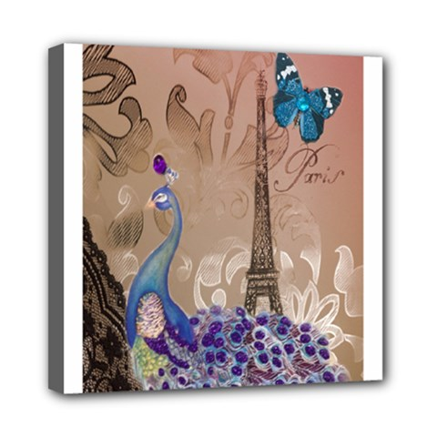 Modern Butterfly  Floral Paris Eiffel Tower Decor Mini Canvas 8  X 8  (framed) by chicelegantboutique